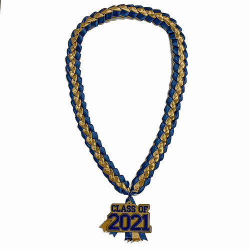 Navy & Gold Class of 2021 Ribbon Lei
