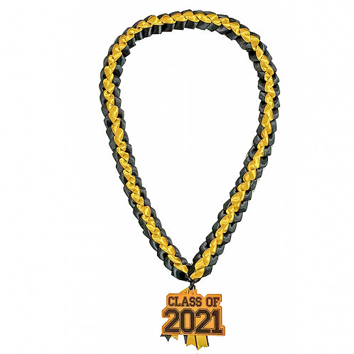 Navy & Yellow Class of 2021 Ribbon Lei