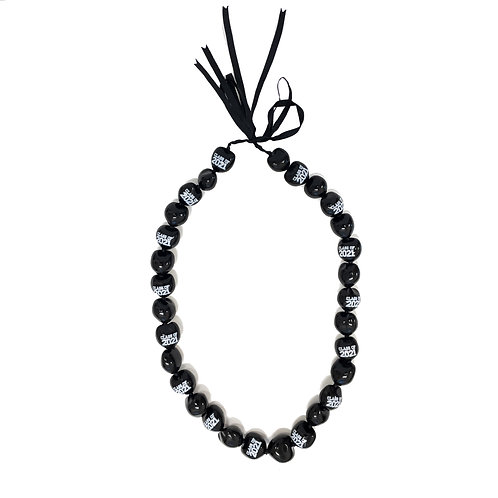Black with White Class of 2021 Kukui Nut Lei