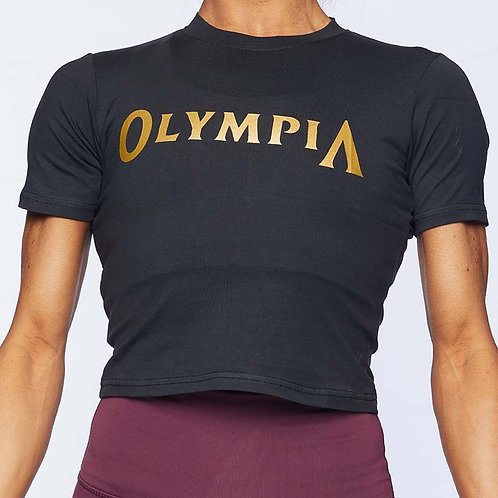 Olympia Black Fitted Crop Tee
