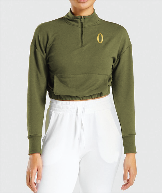 Olympia Green 1/4 Zip Crop with Pockets Jacket