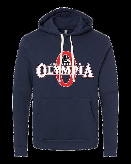 Olympia OG Navy Fleece Pullover Hoodie- color logo