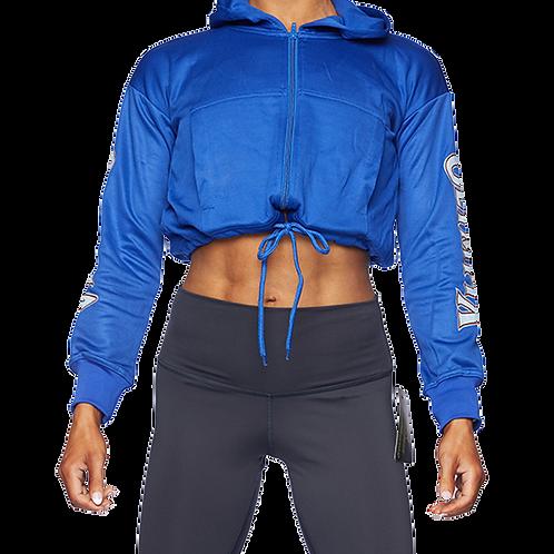 Olympia Blue Drop Shoulder Full Zip with Drawstring Hoodie Jacket