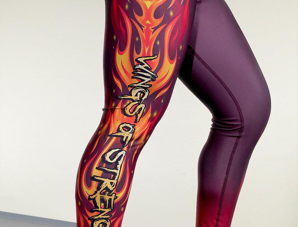 Wings of Strength Women's Maroon Flame Up the Leg Leggings