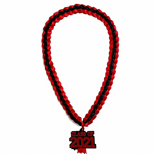 Red & Black Class of 2021 Ribbon Lei