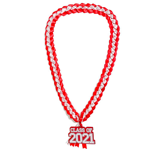Red & White Class of 2021 Ribbon Lei