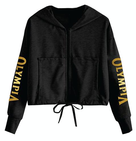 Olympia Black Drop Shoulder Full Zip with Drawstring Hoodie Jacket