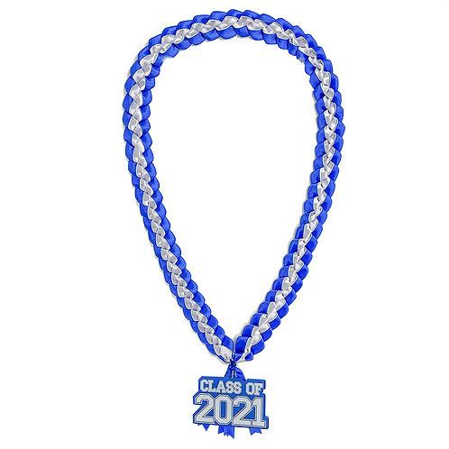 Royal Blue & White Class of 2021 Ribbon Lei