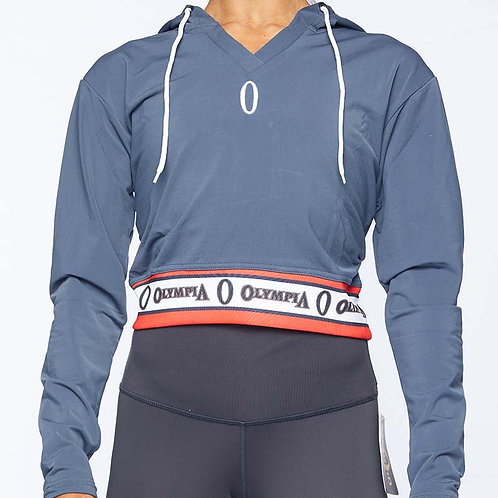 Olympia Grey with Band Crop Hoodie