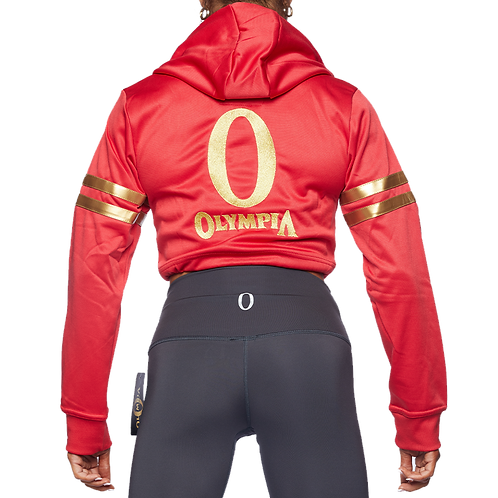 Ms Olympia Red & Gold Draw String Crop Hoodie