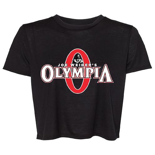 Olympia Crop Top Black Tee- Color Logo