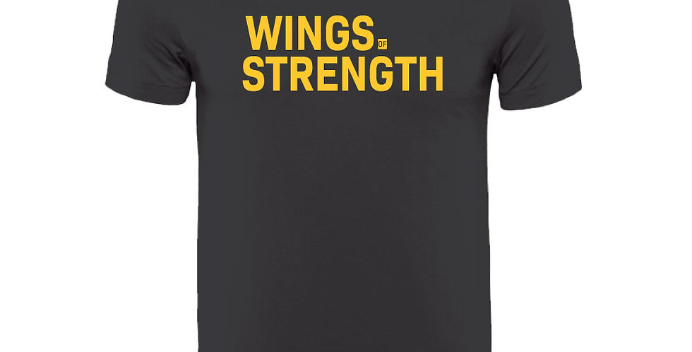 Black Wings of Strength Unisex Yellow WOS T-Shirt