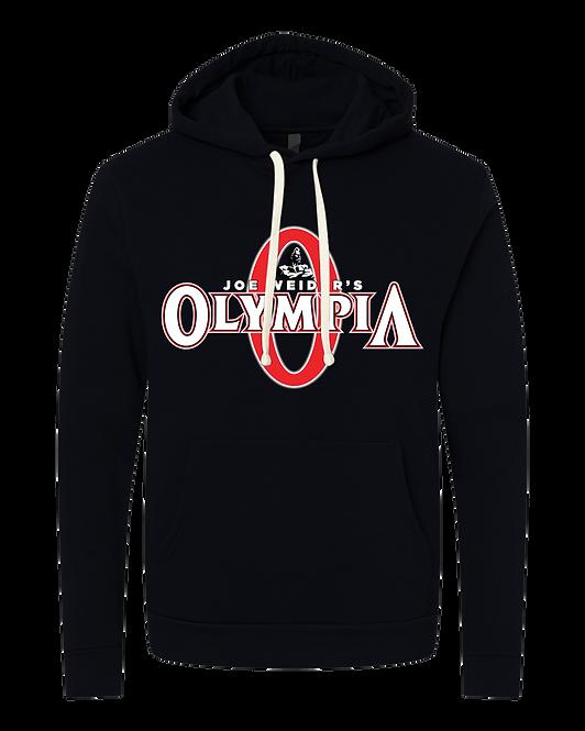 Olympia Black Fleece Pullover Hoodie-color logo
