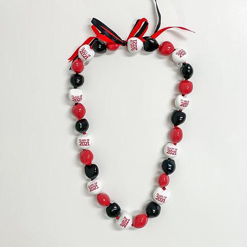 Red White & Black Class of 2021 Kukui Nut Lei