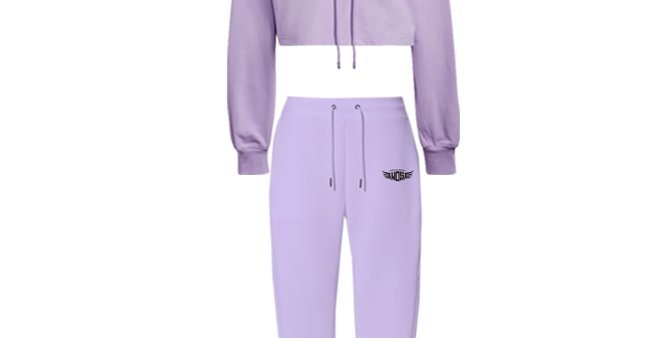 Wings of Strength Crop Hoodie & Jogger Pants Lavender Set with WOS Design