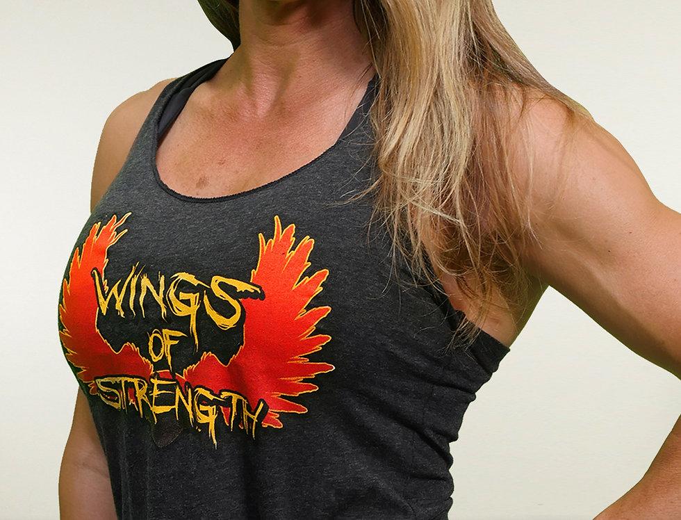 Wings of Strength Women's Tri-Blend Black - Racerback Tank Top