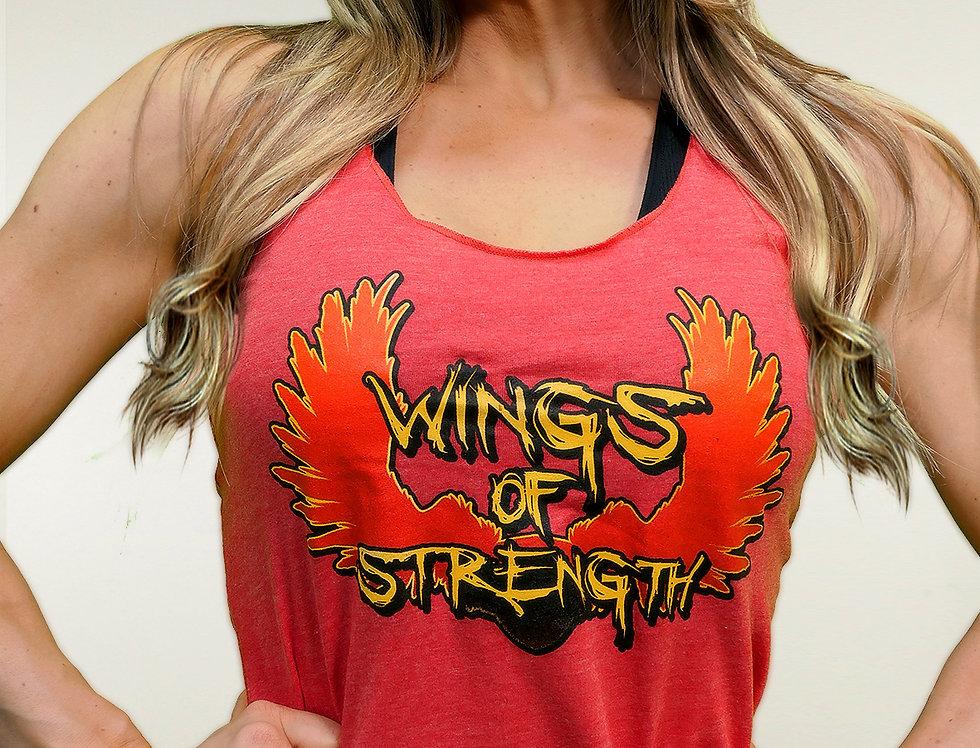 Wings of Strength Women's Tri-Blend Red - Racerback Tank Top