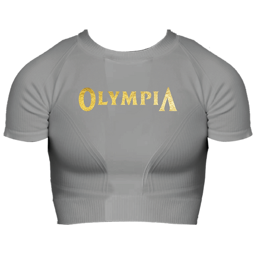 Olympia Grey Fitted Crop Tee
