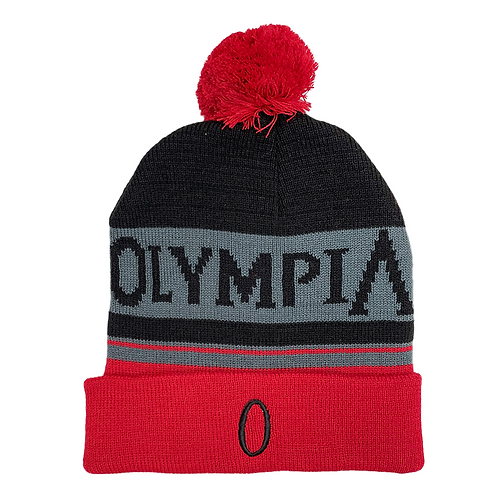 Black Grey and Red Beanie