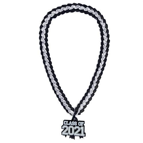 Black & White Class of 2021 Ribbon Lei