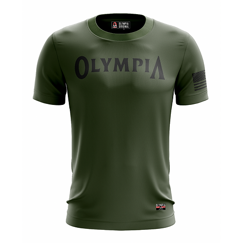 Olympia Salute in Army Green Dry Performance T-Shirt
