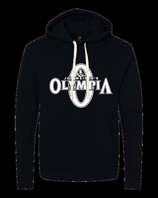 Olympia Black Fleece Pullover Hoodie-white logo