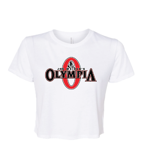 Olympia Crop Top White Tee- Color Logo