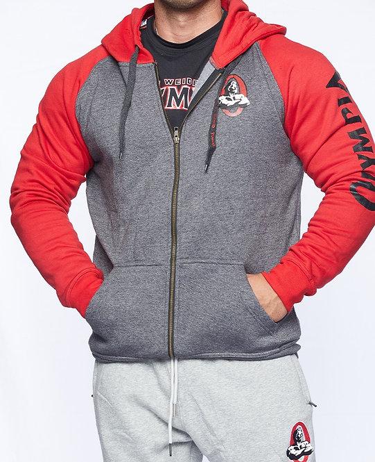 Olympia Red / Dark Grey Fleece Full-Zip Hooded Fleece Jacket