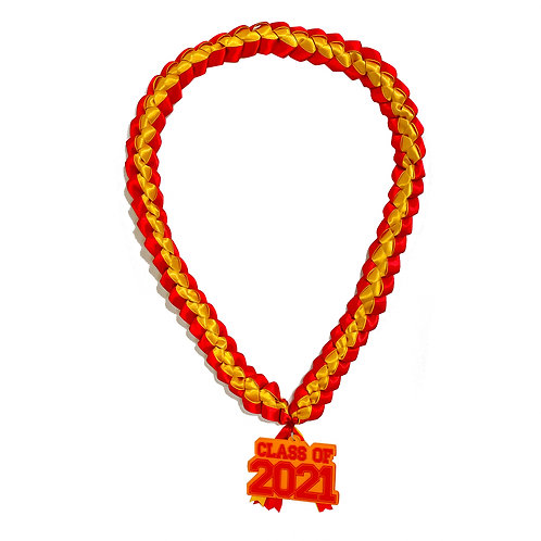 Red & Yellow Class of 2021 Ribbon Lei