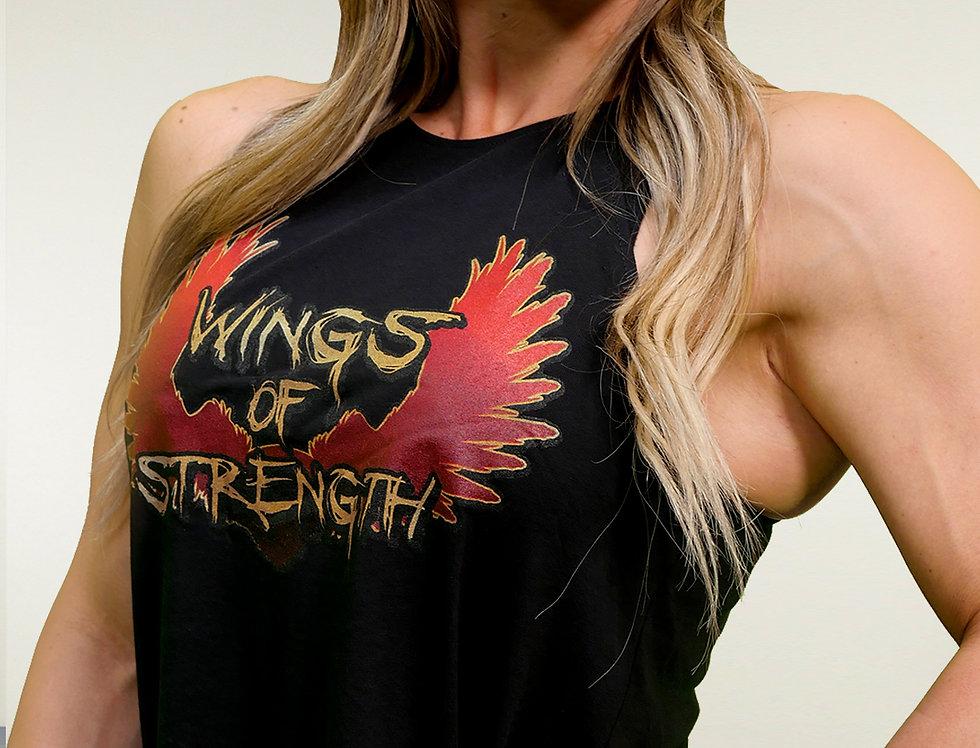 Wings of Strength Women's Flowy High Neck Tank - Black