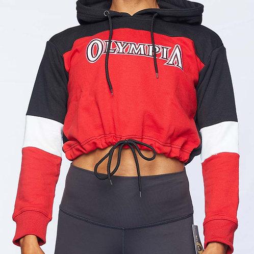 Olympia Tri Color Drawstring Crop Hoodie