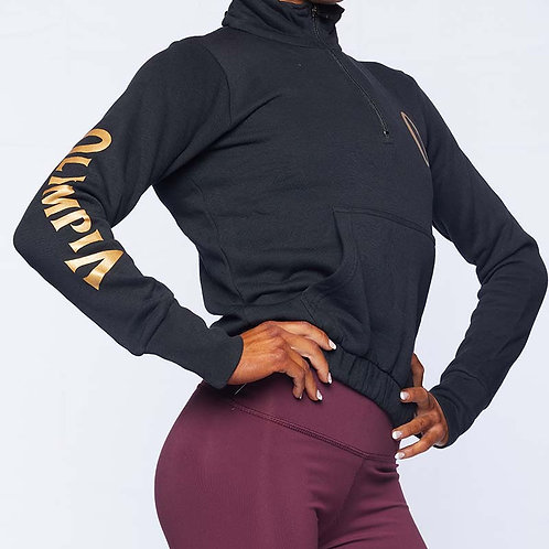 Olympia Black 1/4 Zip Crop with Pockets Jacket
