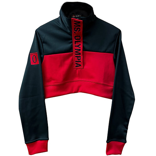 Ms Olympia Black and Red Crop  1/4 Zip Jacket