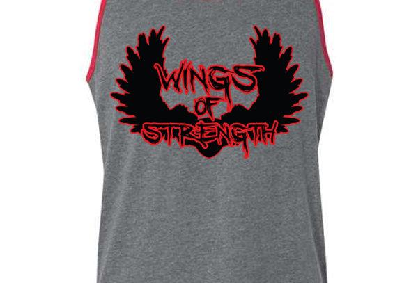 Wings of Strength Grey Tank Top w/ Red Trim