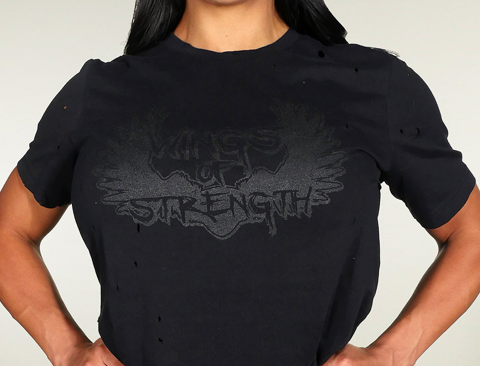 Wings of Strength Unisex  T-Shirt Black on Black
