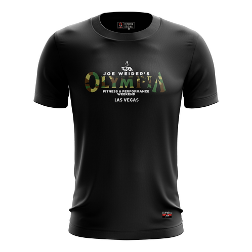 Olympia in Camo on Black Dry Performance T-Shirt