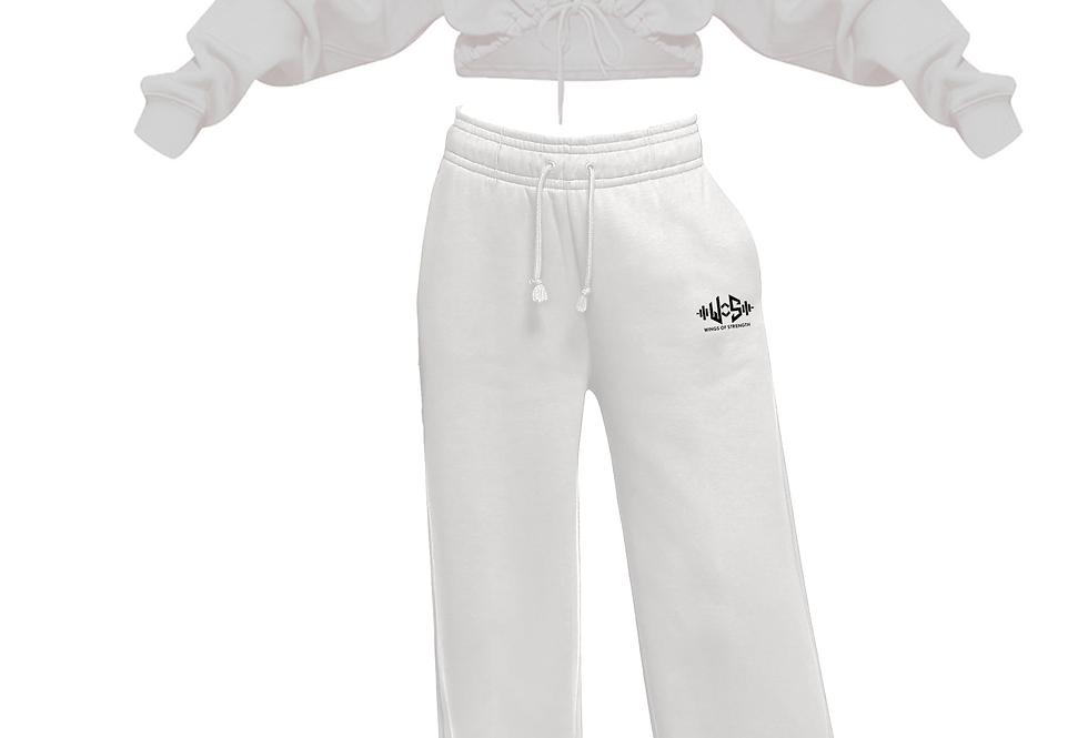 Wings of Strength Crop Hoodie & Fleece Pants White Set