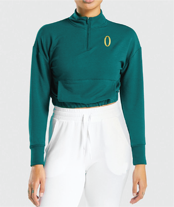 Olympia Teal 1/4 Zip Crop with Pockets Jacket