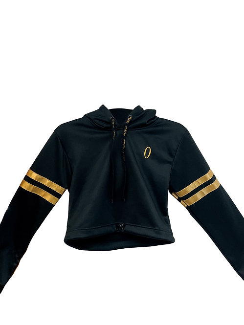 Ms Olympia Black & Gold Draw String Crop Hoodie