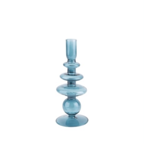 PT -  Kandelaar glas-L- art rings d.blauw
