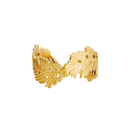 Ring Wavy Leaf - goud