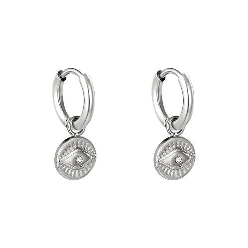 Oorbellen Magic Eye Charm - zilver