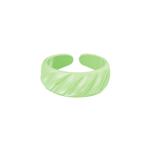 Candy Ring Diagonal Ridge - Metaal groen