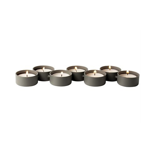 Waxinelichthouder - metaal rij van 7 groen