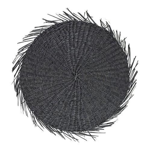 Zeegras rond zwart franjes - 44cm
