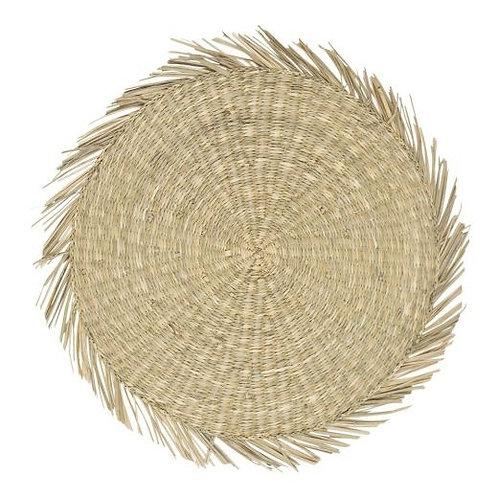 Zeegras rond naturel franjes - 44cm