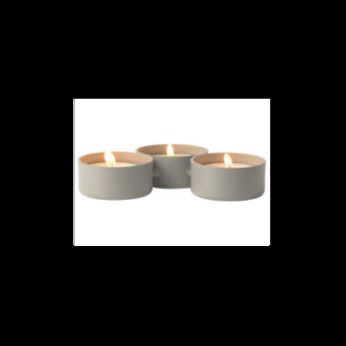 Waxinelichthouder - metaal rij van 3 wit