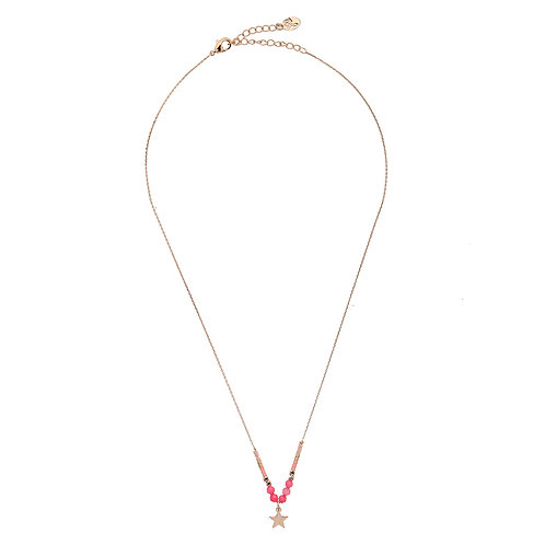 Ketting Beads & Star - roze