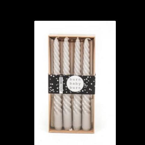 HV gedraaide kaarsen -  grijs set/4  2x20 cm