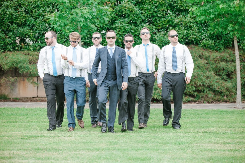 Groom and groomsment - looking dapper, boy band